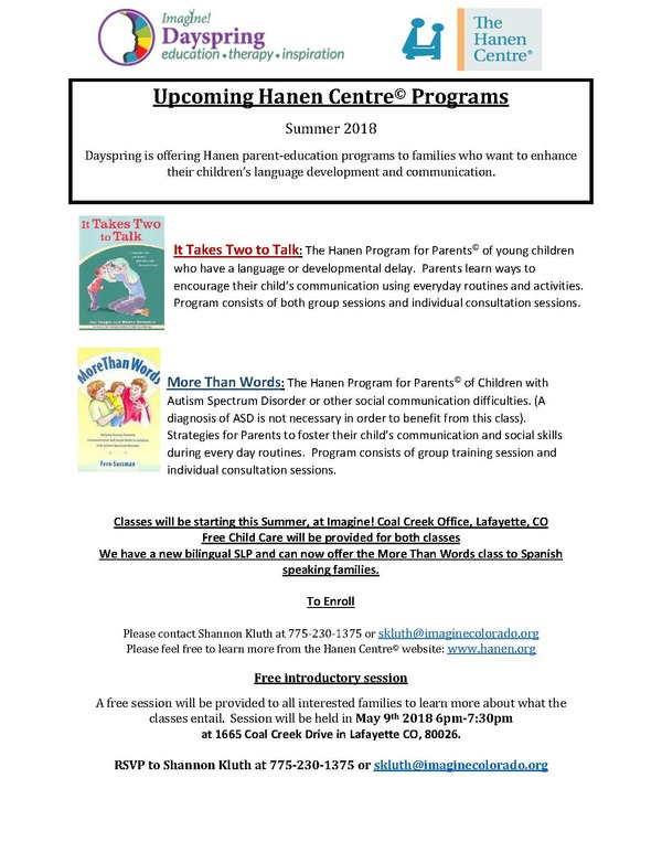 Flyer of upcoming Hanen classes spring 2018